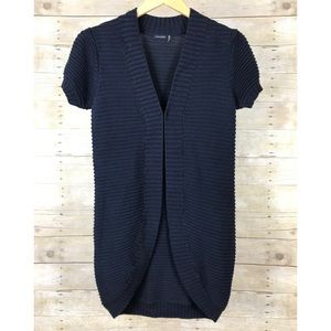 Magaschoni Navy Blue Puff Shoulder Short Sleeve Latch Front Cozy Warm Cardigan S